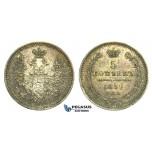 L55, Russia, Nicholas I, 5 Kopeks 1852 СПБ-ПА, St. Petersburg, Silver, Toned High Grade!