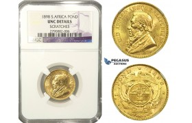 L61, South Africa (ZAR) Pond 1898, Gold, NGC UNC Det.
