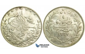 L72, Ottoman Empire, Egypt, Mehmed Resad, 5 Qirsh AH1327/4-H, Heaton, Silver, Mint State!