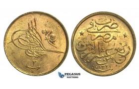 L73, Ottoman Empire, Egypt, Mehmed Resad, 1/40 Qirsh AH1327/3-H, Heaton, Mint State!