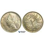 L74, Egypt, Fuad, 2 Milliem 1929, Mint State!