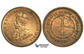 L78, Straits Settlements, George V, 1/4 Cent 1916, Mint State