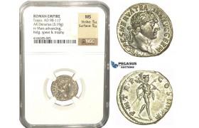L83, Roman Empire, Trajan (98-117 AD) AR Denarius 101-102 AD (3.19g) Rome, Mars, Mint Luster, NGC MS