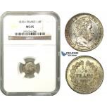 M03, France, Louis Phillipe I, 1/4 Franc 1836-A, Paris, Silver, NGC MS65