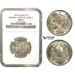 M04, France, 3rd Republic, CERES 2 Francs 1870-A (Large A) Paris, Silver, NGC MS62