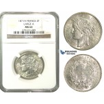 M05, France, 3rd Republic, CERES 2 Francs 1871-A (Large A) Paris, Silver, NGC MS62
