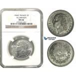 M08, France, De Gaulle's prov. gov., 5 Francs 1946-C, Paris, Aluminum, NGC MS66