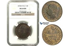 M12, Italy, Umberto I, 10 Centesimi 1893-BI, NGC MS64BN