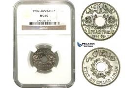 M13, Lebanon, 1 Piastre 1936, Paris, NGC MS65