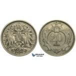 M17, Austria, Franz Joseph, 20 Heller 1892, Good details! Better date!