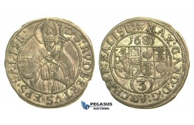 M18, Austria, Salzburg, Maximilian Gandolph, 3 Kreuzer 1681, Silver, Nice!