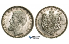 M21, Romania, Carol I, 1 Leu 1894, Silver, Brussels, High Grade (Minor cleaning)
