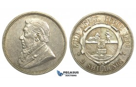 M28, South Africa (ZAR) 2 Shillings 1892, Silver, High Grade (Light Hairlines)