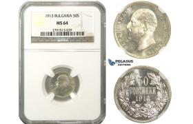 M32, Bulgaria, Ferdinand I, 50 Stotinki 1913, Silver, NGC MS64