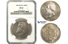 M34, Brazil, Pedro II, 2000 Reis 1888, Silver, NGC MS62