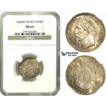 M40, France, Napoleon III, Franc 1866-BB, Strasbourg, Silver, NGC MS64