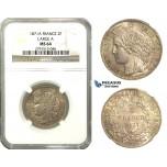 M41, France, 3rd Republic, CERES 2 Francs 1871-A (Large A) Paris, Silver, NGC MS64