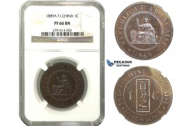 M46, French Indo-China (Vietnam) 1 Centime 1889-A, Paris, NGC PF66BN (Pop 1/1, Finest) Rare!