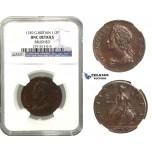 M47, Great Britain, George II, Half Penny 1749, NGC UNC Details