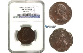 M47, Great Britain, George II, Half Penny 1749, NGC UNC Details