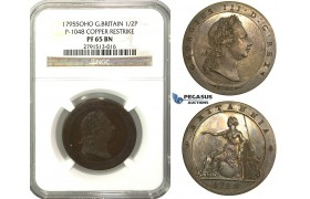 M48, Great Britain, George III, Pattern Restrike Half Penny 1795-SOHO, NGC PF65BN (Pop 1/1, Finest)
