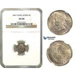 M51, Hong Kong, Voctoria, 5 Cents 1867, Silver, NGC AU58