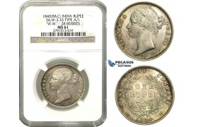 M53, East India Company, Victoria, Rupee 1840 (B&C) SW 3.33, 28 Berries, Silver, NGC MS61