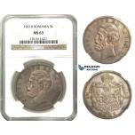 M59, Romania, Carol I, 5 Lei 1901, Hamburg, Silver, NGC MS63, Purple Toning!