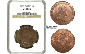 M63, Austria, Francisc II, 6 Kreuzer 1800-F, Hall, NGC MS62RB