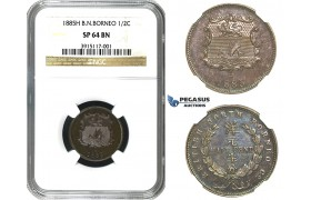 "M66, British North Borneo, 1/2 Cent 1885-H, Heaton, NGC SP64BN (Pop 1/1, first to be graded ""SP"") Very Rare!"