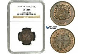 M67, British North Borneo, 1/2 Cent 1891-H, Heaton, NGC MS64BN