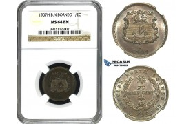 M68, British North Borneo, 1/2 Cent 1907-H, Heaton, NGC MS64BN, Rare Date!