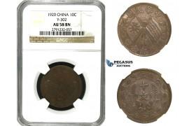 M76, China, 10 Cash 1920, NGC AU58BN Y-302