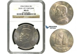 M79, China, Junk Dollar 1934, Silver, NGC MS63 L&M 110, Y-345 Junk