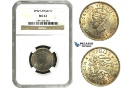 M91, Cyprus, George VI, 9 Piastres 1940, Silver, NGC MS63