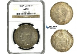 N02, Greece, George I, 5 Drachmai 1876-A, Paris, Silver, NGC AU58