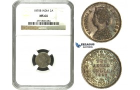 N04, India (British) Victoria, 2 Annas 1893-B, Bombay, Silver, NGC MS64 (Pop 1/1) Rainbow toning!