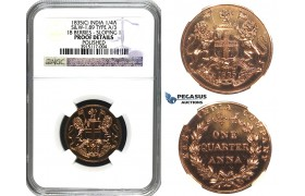 N05, India (East India Co.) Quarter Anna 1835-C, Calcutta (S&W 1.89 Type A/3, 18 Berries - Sloping 1) NGC Proof Det.