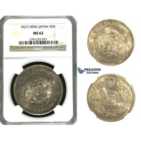 N09, Japan, Meiji, Yen Yr.27 (1894) Silver, NGC MS62