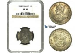 N12, Panama, 10 Centesimos 1904, Silver, NGC AU55