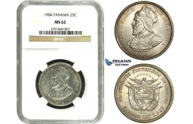 N13, Panama, 25 Centesimos 1904, Silver, NGC MS62, Fully frosted!