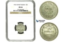 N30, Russia (Soviet Union) 15 Kopeks 1923, Silver, Leningrad, NGC MS66