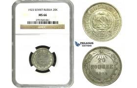 N31, Russia (Soviet Union) 20 Kopeks 1923, Silver, Leningrad, NGC MS66