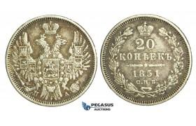 N50, Russia, Nicholas I, 20 Kopeks 1851 СПБ-ПА, St. Petersburg, Silver, Nice!