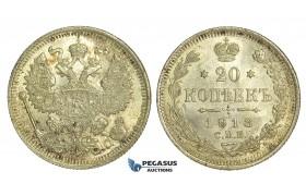 N52, Russia, Nicholas II, 20 Kopeks 1913 СПБ-ВС, St. Petersburg, Brilliant UNC
