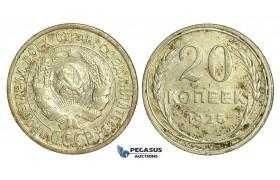 N53, Russia (Soviet Union) 20 Kopeks 1925, Leningrad, Silver, Toned High Grade!
