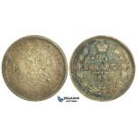 N54, Russia, Alexander II, 25 Kopeks 1859 СПБ-ФБ, St. Petersburg, Toned UNC (Bag marks and spots)