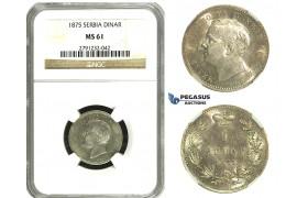 N64, Serbia, Milan I. Obrenovic, 1 Dinar 1875, Silver, NGC MS61