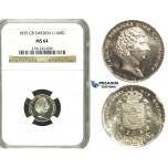 N66, Sweden, Carl XIV, 1/16 Riksdaler 1835 CB, Stockholm, Silver, NGC MS64