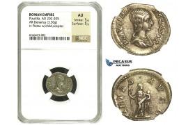 N71, Roman Empire, Plautilla (202-205 AD) AR Denarius (3.30g) Struck 203 AD, Rome, Pietas, NGC AU 5/5 5/5